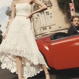 84d4bd9df9392 David's Bridal · Galina High-Low Lace Maternity Wedding Dress